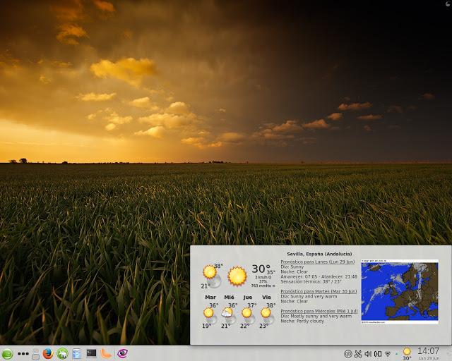 yawp es un bonito plasmoide meteorológico para KDE